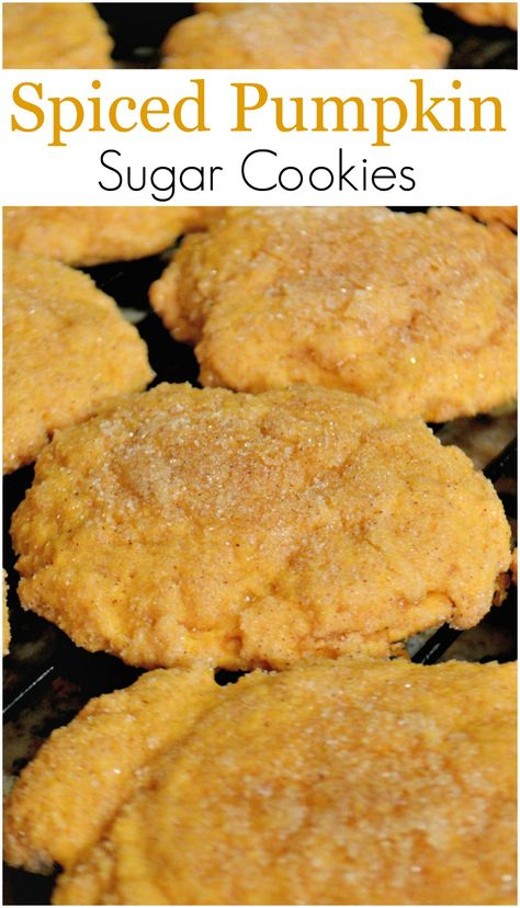 Spiced Pumpkin Sugar Cookies- super easy drop sugar cookies with pumpkin pie filling and spice!