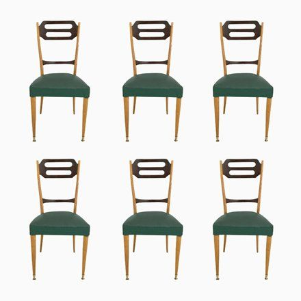 Set Eetkamerstoelen 6.Italian Green Skai Dining Chairs 1950s Set Of 6 Dining Chairs