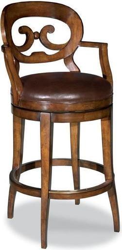 New Swivel Bar Stool Barstool Cocoa Leather Oval Pierced Back
