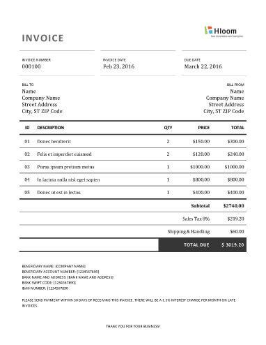 Free Invoice Template By Hloom Com Invoice Template Invoice Template Word Resume Design Template