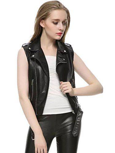 famous designer brand online store how to serch Clothink Women Black Lapel Sleeveless Leather Look Biker ...