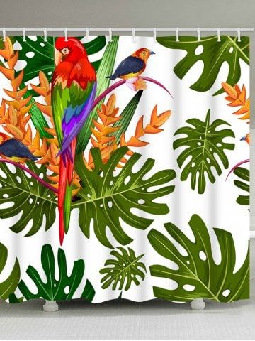 Tropical Plants Parrot Print Bath Shower Curtain Tropical