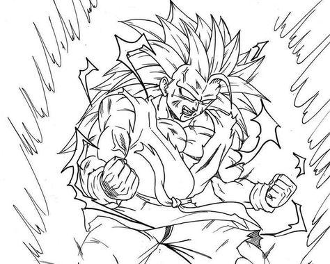 Son Goku Fase 3 A Fase 4 Para Iluminar Y Dibujo De Goku Dibujos