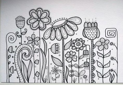 Flower doodle patterns doodle art, drawings y doodles Doodle Patterns, Zentangle Patterns, Embroidery Patterns, Hand Embroidery, Flower Embroidery, Coloring Books, Coloring Pages, Sharpie Doodles, Sharpie Markers