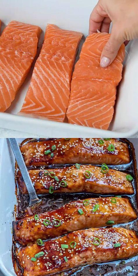 Baked Teriyaki Salmon, Baked Salmon Recipes, Fish Recipes, Seafood Recipes, Cooking Recipes, Healthy Recipes, Recipes Dinner, Oven Baked Salmon, Chicken Marinade Recipes