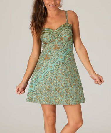 b2c8c9b13a8f This Green Abstract Floral Sleevless Dress - Women is perfect!  zulilyfinds