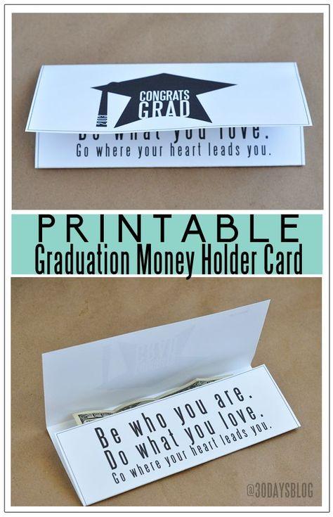 10 Graduation Party Ideas And Free Printables For Grads Money Holders Card Graduation Money Graduation Cards