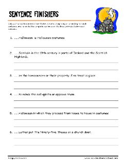 Grade 4 Halloween Worksheet - Halloween Vocabulary, Finish The ...