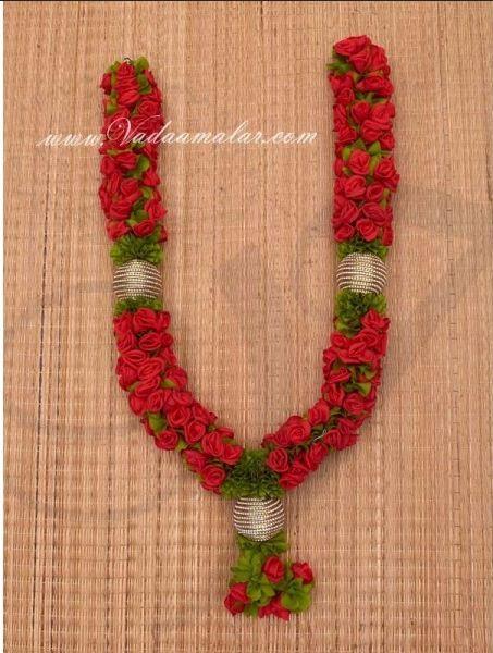 Red Rose Indian Bridal Wedding Synthetic Garlands Maala Buy Online Flower Garland Wedding Indian Wedding Garland Flower Centerpieces Wedding