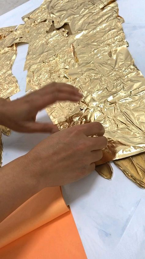 Angel wings painting, art video, how to make gold leaf painting, painting video