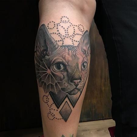 Realistic Sphinx Cat With Geometric Details Eye Tattoo Tattoos Geometric Tattoo