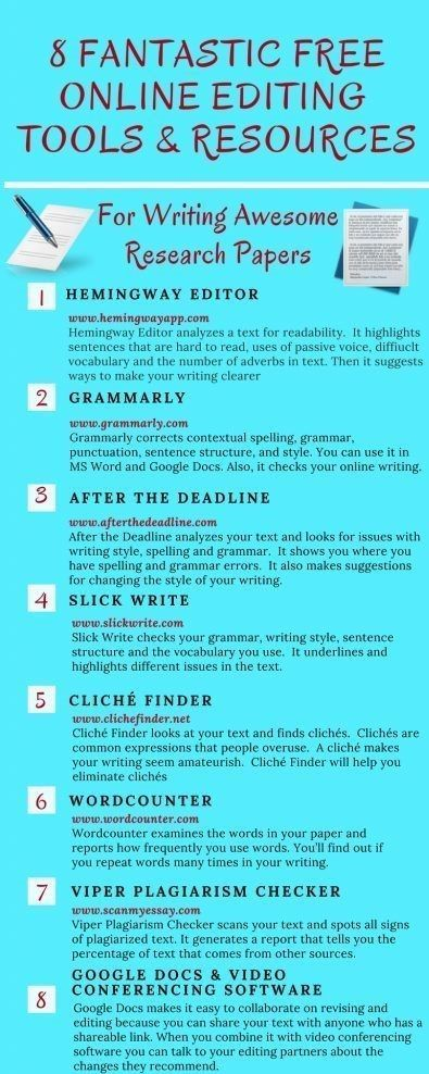 Fantastic free Online Editing tools & resources for writing awesome research papers