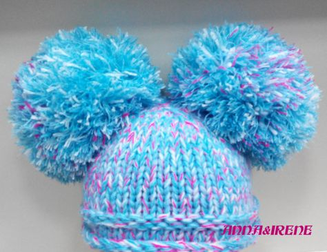 09baae45636 Crochet baby hat with big pompons   newborn baby hat   funny blue hat    woolen warm winter hat   bab