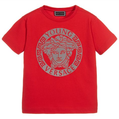 3e3f582d7d5a Red Cotton MEDUSA T-Shirt for Boy by Young Versace. Discover the latest  designer Tops for kids online