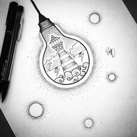 #art #drawings #lightbulb #lighthouse