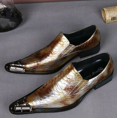 Mens Fashion Wedding Gold Silver Pointy Toe Business British Dress Formal Shoes