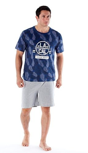 43f148fa2c Mens LA Beach SS Navy Top Cotton Jersey Short Pyjama Set | Mens ...