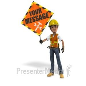 Construction Worker Holding Sign 3d Animated Clipart For Powerpoint Presentermedia Com In 2020 Animated Clipart Powerpoint Animation Clip Art