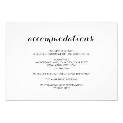 Simple Elegant Modern Wedding Accommodation Card Zazzle Com Elegant Modern Wedding Wedding Accommodations Accommodations Card