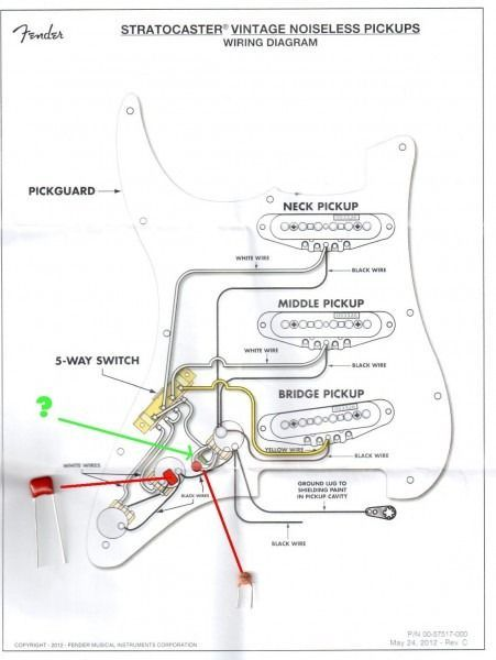 [DIAGRAM_5NL]  Fender Vintage Noiseless Pickups Wiring Diagram | Fender Noiseless Strat Wiring Diagrams |  | Pinterest