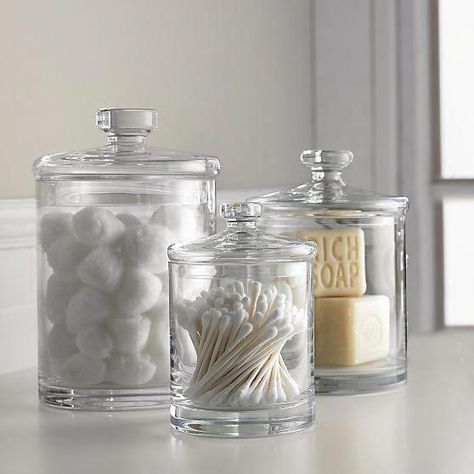[New] The 10 Best Home Decor Ideas Today (with Pictures) - Shop Glass Canisters. Simple bathroom storage with a retro feel. Handmade glass canisters with nesting lids update a classic apothecary look Bathroom Spa, Simple Bathroom, Bathroom Canisters, Bathroom Counter Storage, Apothecary Jars Bathroom, Bathroom Containers, Bathroom Mirrors, Kitchen Storage, Kitchen Sink