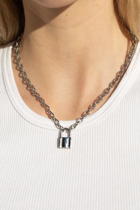 Silver Lock Necklace - Just In - Silver Lock Chain Necklace - Neckla . Coin Pendant Necklace, Silver Chain Necklace, Silver Necklaces, Silver Earrings, Silver Jewelry, Fine Jewelry, Women Jewelry, Silver Ring, Gold Bracelets