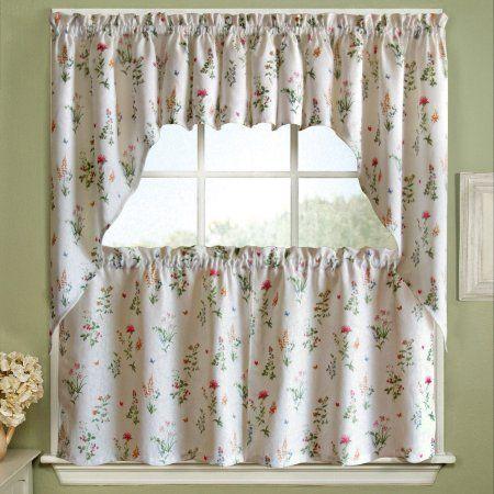 English Garden Floral Jacquard Kitchen Curtains 24 Inch 36 Inch