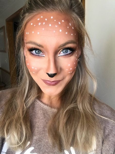 Girl Deer Costume, Deer Costume Makeup, Baby Deer Costume, Costume Makeup Tutorial, Deer Makeup, Bambi Costume, Ghost Makeup, Clown Makeup, Diy Makeup For Halloween