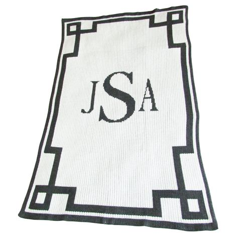 Monogram and Scroll Baby Blanket in Acrylic or Cashmere - what a luxurious baby gift! #PNshop