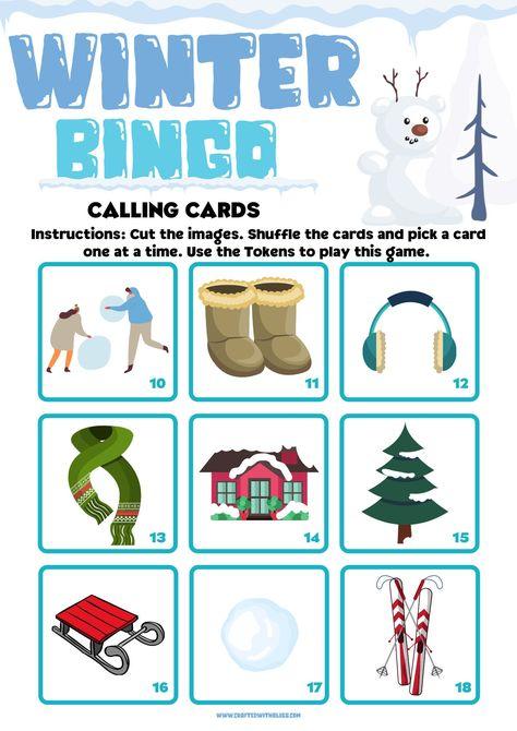 Winter Bingo For Kids, Winter Bingo Party, Classroom Bingo Game, Preschool Bingo Activity, Winter Printable, Winter Games. Winter Activities