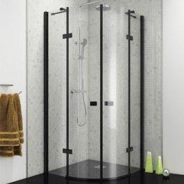 Black 800mm Frameless Quadrant Hinged Enclosure Kaso 8 Star By Voda Design 8mm Thick Quadrant Shower Enclosures Quadrant Shower Shower Enclosure