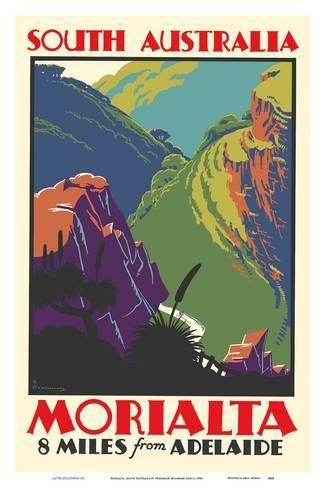Morialta South Australia 8 Miles From Adelaideby Frederick Millward Grey Pintar In 2019 Travel Posters Vintage Travel Posters Vintage Travel