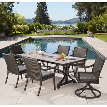 South Dakota 7 Piece Woven Dining Set Patio Furniture Dining Set