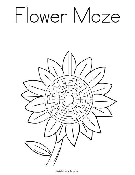 Flower Maze Coloring Page Twisty Noodle Free Printable