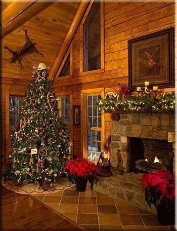 Log Cabin Christmas.Beautiful Rustic Log Cabin Christmas Decor So Cozy And