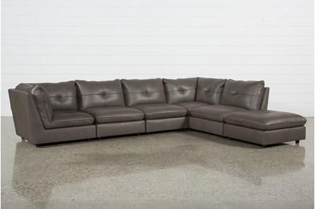 Super Adele Grey 5 Piece Sectional With Ottoman Fitzpatrick Ncnpc Chair Design For Home Ncnpcorg