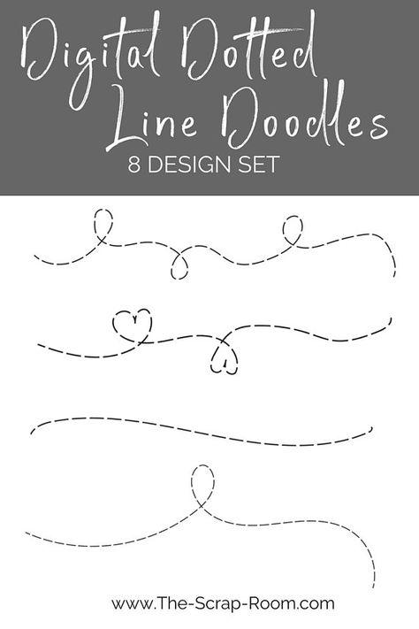 Dotted Line Doodles 8 Design Set Heart Svg Digital Etsy Line Doodles Dotted Line Svg