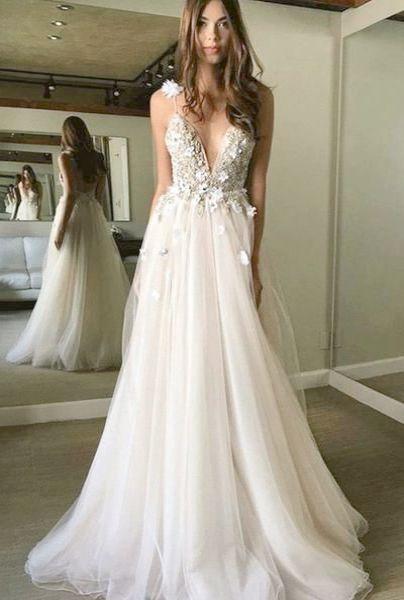 Floral prom dresses, White prom dress