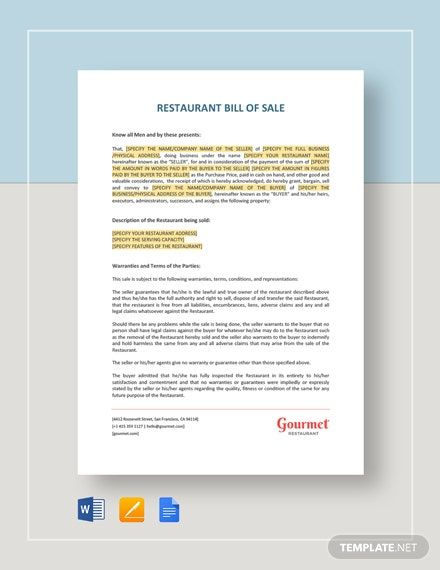 Instantly Download Restaurant Bill Of Sale Template Sample Example In Microsoft Word Doc Google Docs In 2020 Email Marketing Template Marketing Template Word Doc