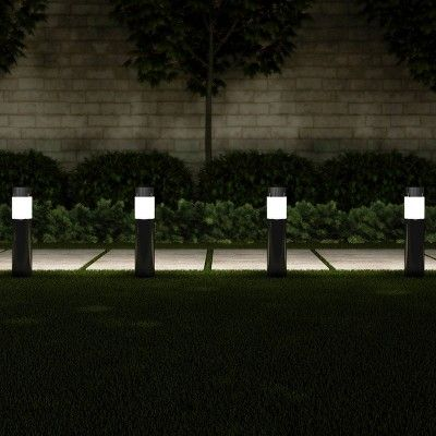 6pk 15 Solar Path Led Bollard Outdoor Stake Lights Black Pure Garden Pure Garden Bollard Lighting Solar Pathway Lights