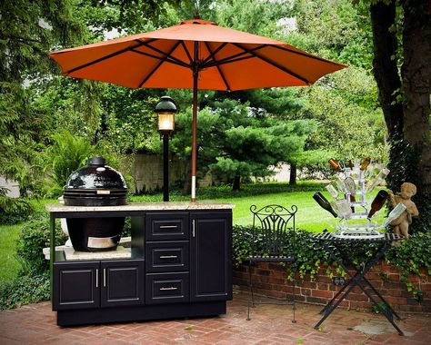 Springtime Is A Time For Outdoor Kitchens Like This One Featuring King Starboard Cabinets King Starboard Build Outdoor Kitchen Kamado Grill Outdoor Fireplace