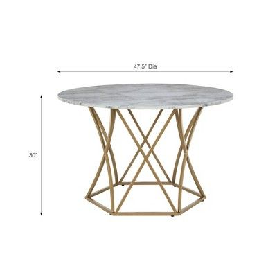 Elle Round Dining Table Gold Cosmoliving By Cosmopolitan Round Dining Round Dining Table White Dining Room Sets