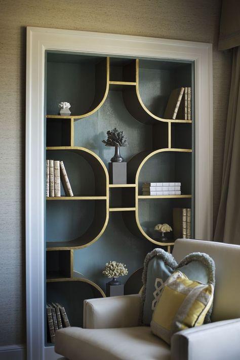 Brass bookcase built into the wall. Amazing custom bookcase design by Susan Jamieson/ Bridget Beari Designs for DC Design House 2013