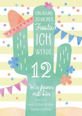 Lustige Einladungskarte Zur Fiesta Zum 12 Geburtstag Mit Kaktus
