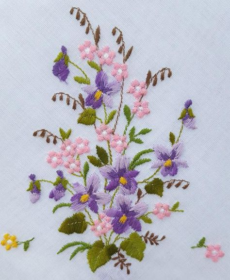 Lovely embroidered cotton handkerchief with embroidered violets is NOWT; new, old, with tags attached from Neiman Marcus.  It measures: 12 inches x 12