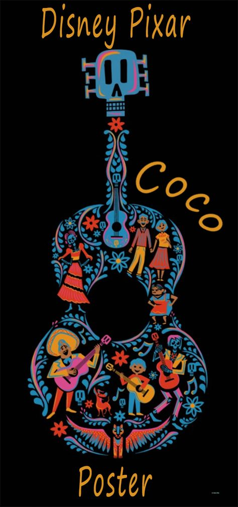 Disney Pixar Coco | Colorful Character Guitar Poster