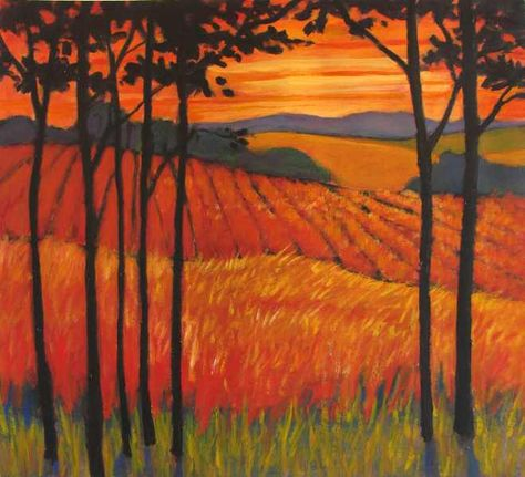 Sunset Pastures- Abstract, Huge Contemporary Acrylic on a Extra Large Canvas Commissioned Painting by Patty Baker. $1,200.00, via Etsy.