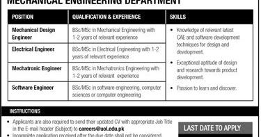 The University Of Lahore Mechanical Department Jobs 2018