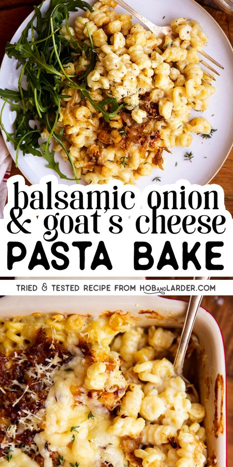 One of my favourite vegetarian pasta bakes to date: Pasta in a creamy goat's cheese sauce, topped with balsamic caramelised onions and baked to bubbly perfection! This is super easy to prep in one pot, and you can even make it ahead to bake later. Cheese Pasta Bake, Goat Cheese Pasta, Cheese Sauce, Baked Goat Cheese, Mac Cheese, Vegetarian Recipes, Cooking Recipes, Healthy Recipes, Vegetarian Pasta Bake