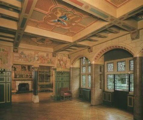 Inside Jimmy Page's medieval home in London.  This is the main hall at Tower House, painted to look like a stone castle. This looks through to the the Library.